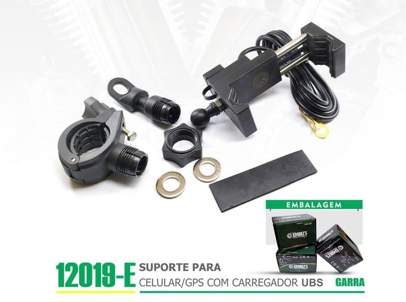 12019-E - SUPORTE PARA CELULAR-GPS COM CARREGADOR USB GARRA