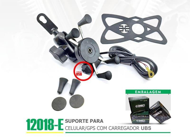 12018-E - SUPORTE PARA CELULAR-GPS COM CARREGADOR USB