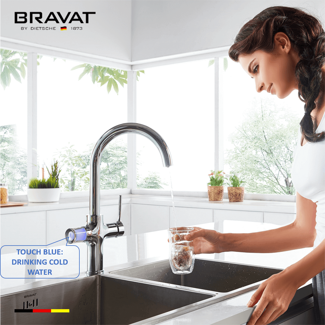 Bravat Equatre: Touch Blue for cold filtered drinking water