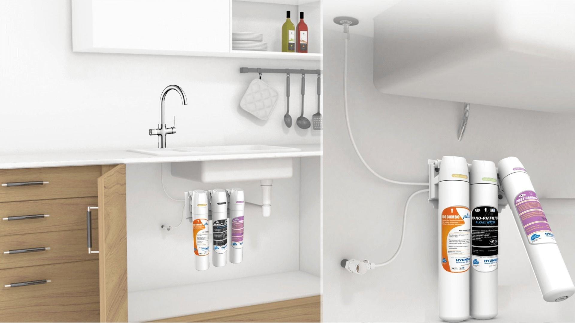 3 Stage Water Filtration Systems with under sink setup