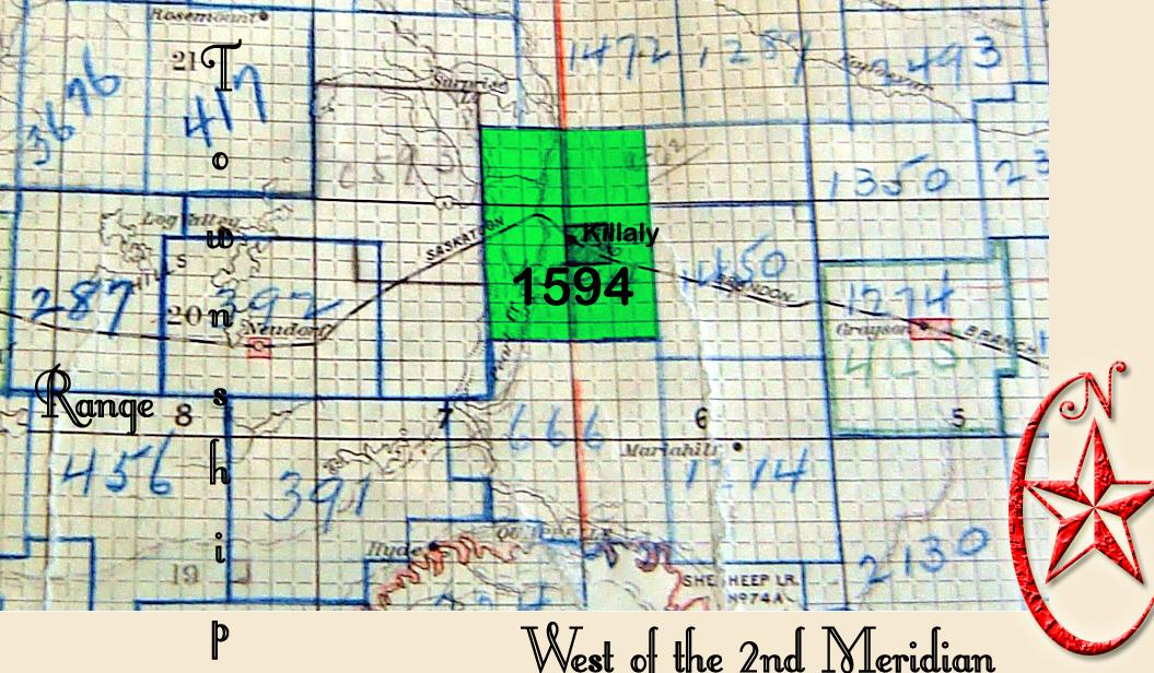 Killaly, KILLALY School District # 1594 map, Sec Tsp 21 Rge 7 W of the 2 Meridian ,Killaly  Saskatchewan