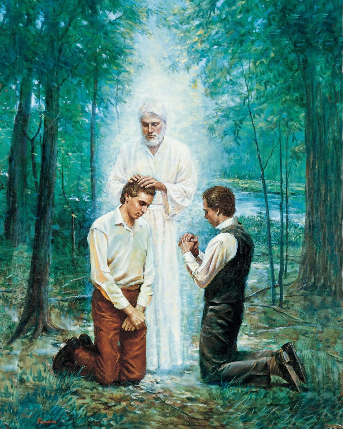 Joseph Smith and Oliver Cowdery receive the Aaronic Priesthood by the laying on of hands from John the Baptist