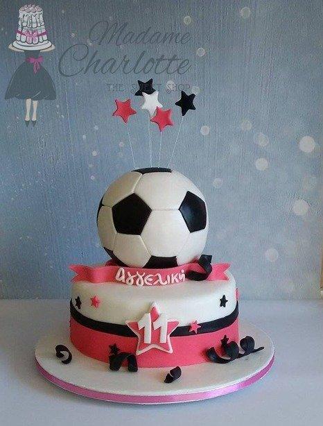 τουρτα γενεθλίων απο ζαχαροπαστα ποδοσφαιρο girly, Ζαχαροπλαστείο καλαμάτα madamecharlotte.gr, birthday theme party cakes 2d 3d confectionery patisserie kalamata