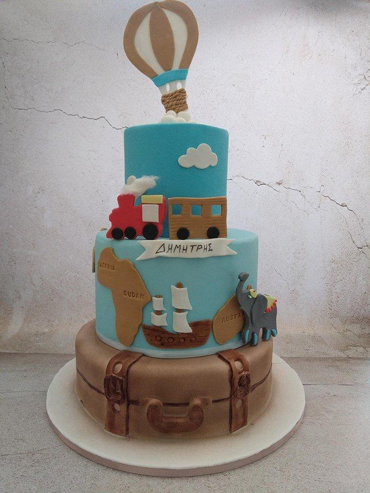 βαπτισης τούρτα από ζαχαρόπαστα ο γύρος του κόσμου σε 80 ημέρες ζαχαροπλαστείο καλαμάτας madame charlotte, birthday theme cakes kalamata