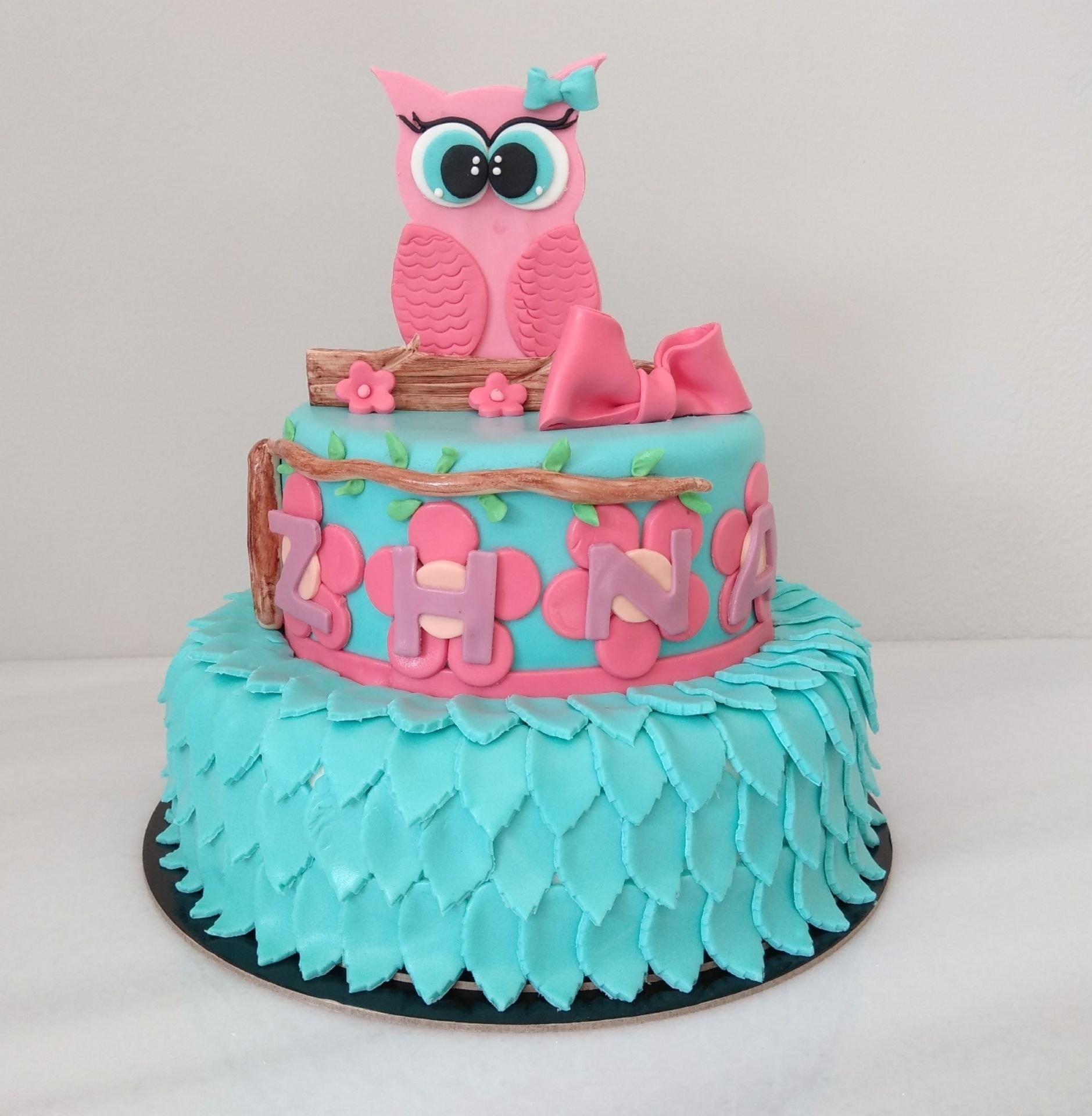 τούρτα απο ζαχαρόπαστα κουκουβάγια ζαχαροπλαστείο καλαμάτα madame charlotte, birthday cakes 2d 3d confectionery patisserie kalamata
