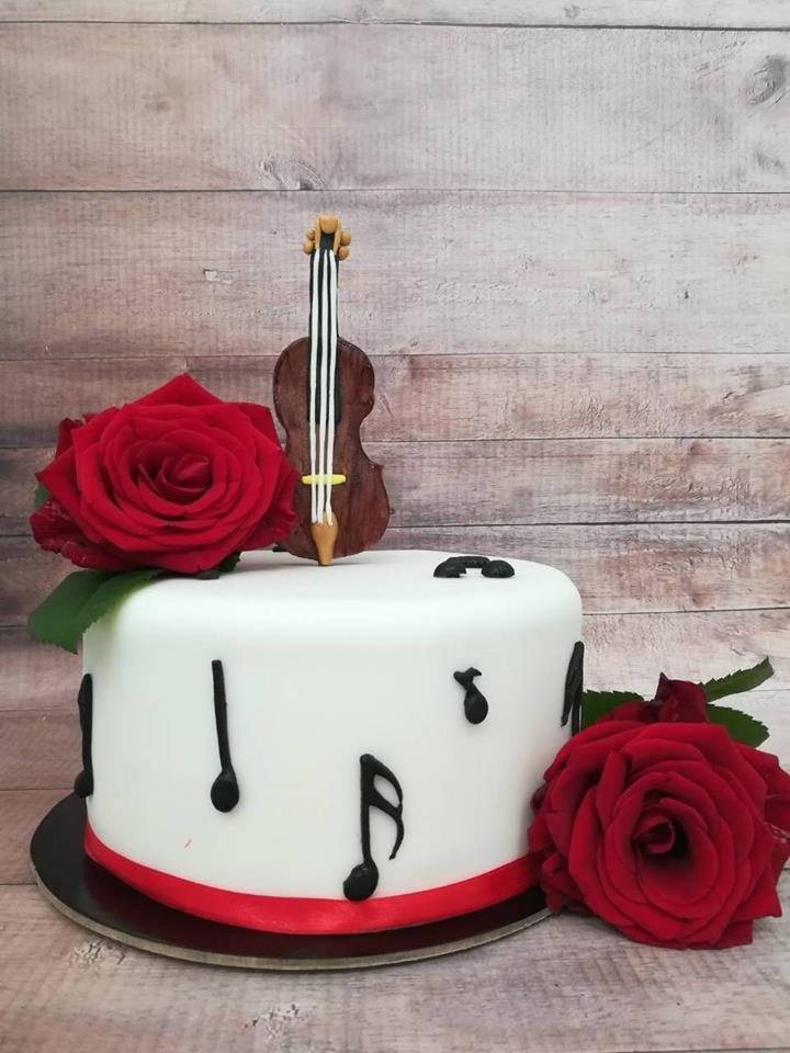 τούρτα από ζαχαρόπαστα βιολι μουσικη, ζαχαροπλαστείο καλαμάτα madamecharlotte.gr, birthday violin music theme party cakes 2d 3d confectionery patisserie kalamata