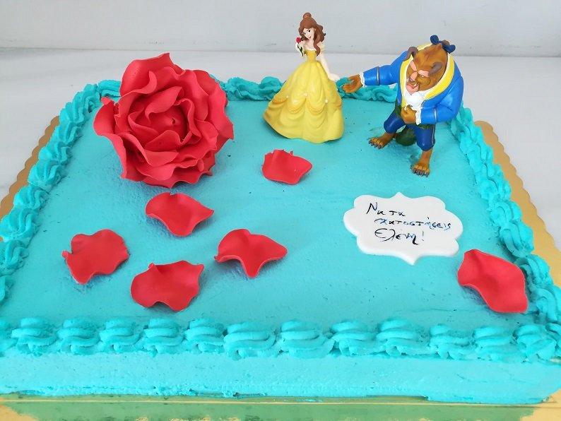 παιδική τούρτα γενεθλίων από ζαχαρόπαστα η πεντάμορφη και το τέρας με τριαντάφυλλο από ζαχαρόπαστα, Ζαχαροπλαστειο καλαματα madame charlotte, τουρτες παιδικες γενεθλιων madamecharlotte.gr birthday cakes kalamata
