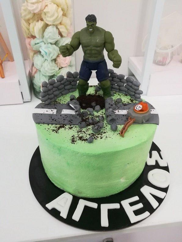 τούρτα απο ζαχαρόπαστα hulk, Ζαχαροπλαστείο καλαμάτα madame charlotte, τούρτες γεννεθλίων γάμου βάπτησης παιδικές θεματικές birthday theme party cake 2d 3d confectionery patisserie kalamata