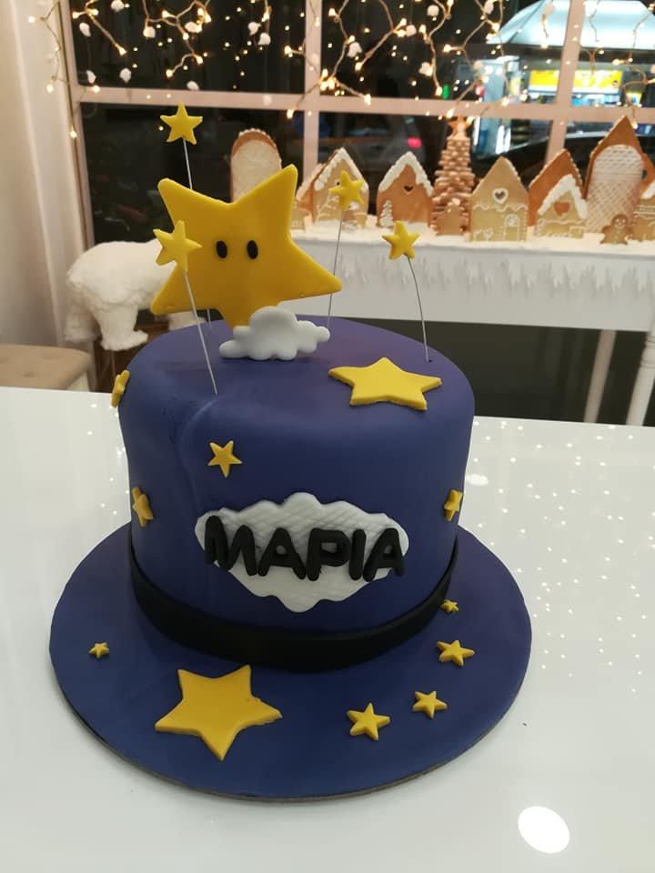 τούρτα από ζαχαρόπαστα maria is a star, Ζαχαροπλαστείο καλαμάτα madame charlotte, τούρτες γεννεθλίων γάμου βάπτησης παιδικές θεματικές birthday theme party cake 2d 3d confectionery patisserie kalamata
