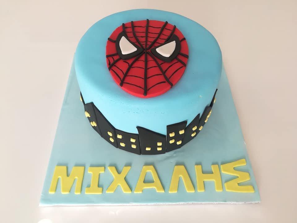 τούρτα από ζαχαρόπαστα spiderman town σπάιντερμαν πόλη, Ζαχαροπλαστείο καλαμάτα madame charlotte, τούρτες γεννεθλίων γάμου βάπτησης παιδικές θεματικές birthday theme party cake 2d 3d confectionery patisserie kalamata