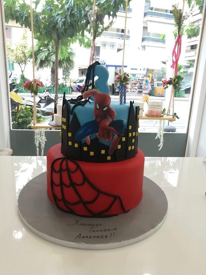 τούρτα από ζαχαρόπαστα spiderman town 3d, Ζαχαροπλαστείο καλαμάτα madame charlotte, τουρτες παρτι παιδικες γενεθλιων madamecharlotte.gr birthday cakes patisserie confectionery kalamata