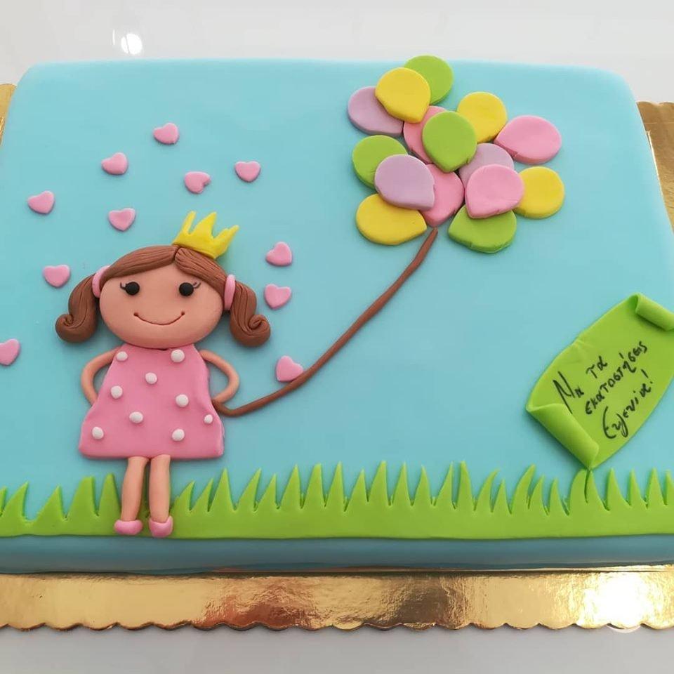 τούρτα από ζαχαρόπαστα happy girl χαρούμενο κορίτσι παιδί με μπαλόνια στην εξοχή, Ζαχαροπλαστείο καλαμάτα madame charlotte, τουρτες παρτι παιδικες γενεθλιων για αγόρια για κορίτσια για μεγάλους madamecharlotte.gr birthday cakes patisserie confectionery kalamata