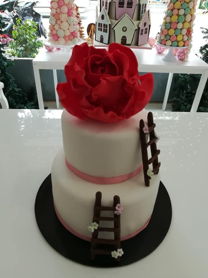 τούρτα από ζαχαρόπαστα κόκκινο τριάφυλλο, Ζαχαροπλαστεία στη καλαμάτα madame charlotte, τούρτες γεννεθλίων γάμου βάπτησης παιδικές θεματικές birthday theme party cake 2d 3d confectionery patisserie kalamata