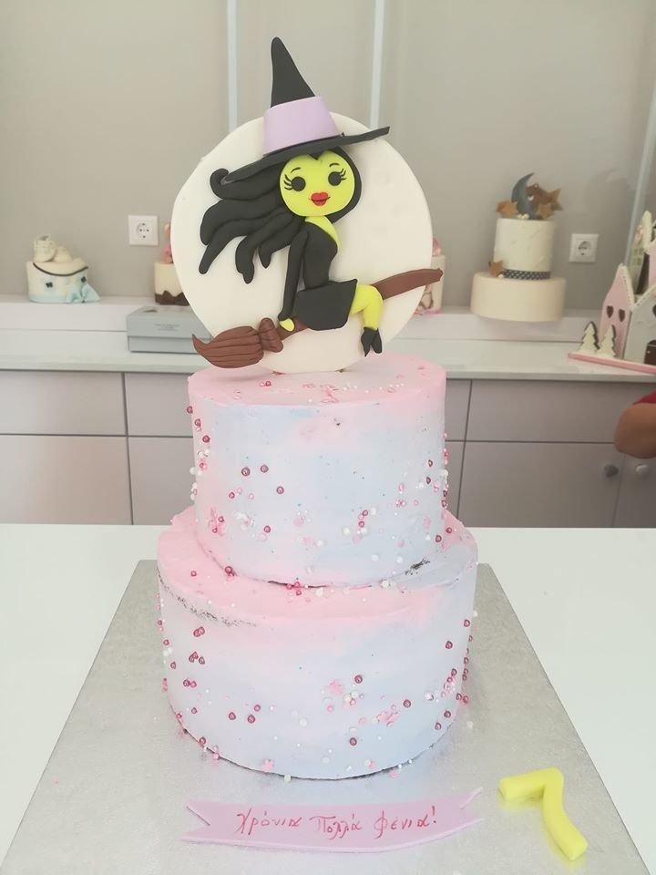 τούρτα από ζαχαρόπαστα μάγισσα witch, Ζαχαροπλαστείο καλαμάτα madame charlotte, τουρτες παρτι παιδικες γενεθλίων για αγόρια για κορίτσια για μεγάλους madamecharlotte.gr birthday theme cakes patisserie confectionery kalamata
