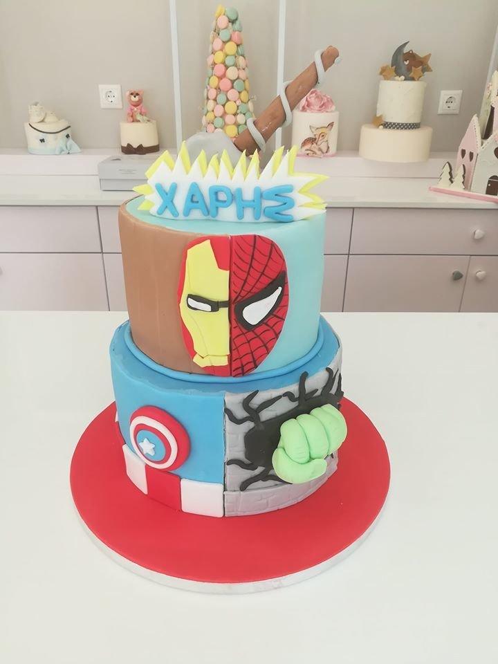 τούρτα από ζαχαρόπαστα Marvel Avengers cake κόμιξ εκδικητές, Ζαχαροπλαστεία στη καλαμάτα madame charlotte, τούρτες γεννεθλίων γάμου βάπτησης παιδικές θεματικές birthday theme party cake 2d 3d confectionery patisserie kalamata