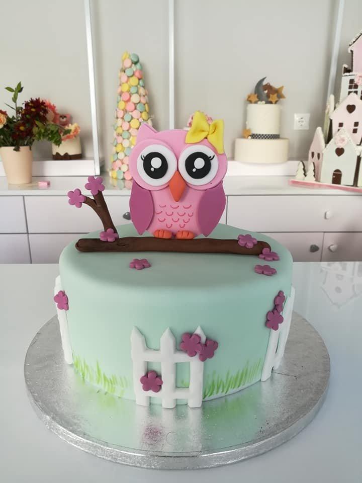 τούρτα από ζαχαρόπαστα κουκουβάγια owl cartoon, Ζαχαροπλαστεία στη καλαμάτα madame charlotte, τούρτες γεννεθλίων γάμου βάπτησης παιδικές θεματικές birthday theme party cake 2d 3d confectionery patisserie kalamata