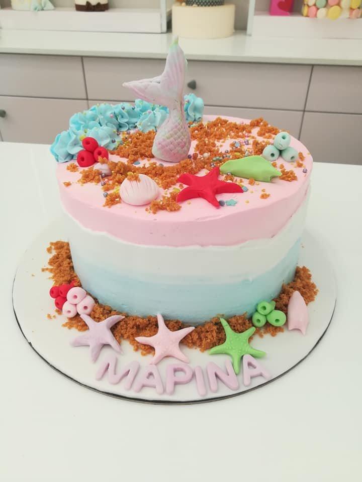 τούρτα χωρίς ζαχαρόπαστα γοργόνα, memaid themed cake, ζαχαροπλαστείο Καλαμάτα madame charlotte, birthday wedding party cakes 2d 3d kalamata