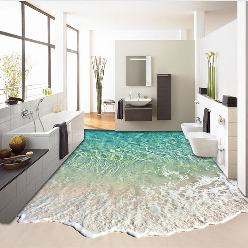 Custom Self-adhesive Floor Mural Photo Wallpaper 3D Seawater Wave Flooring Sticker Bathroom Wear Non-slip Waterproof Wall Papers