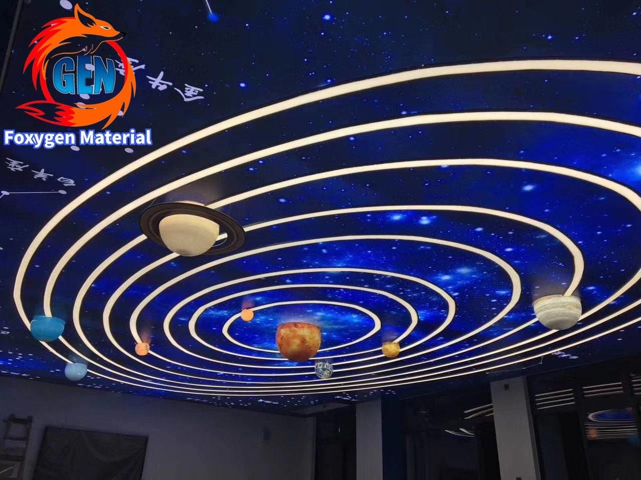 Foxygen customized print uv Stretch ceiling film the solar system .