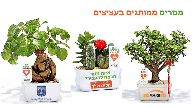 מארזי שי מתנות לראש השנה, עציצים ממותגים עם מסר  אישי ממותג