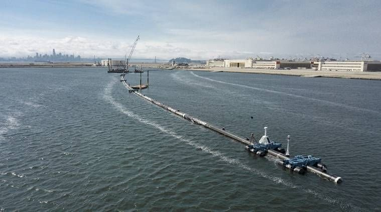 The Ocean Cleanup, Great Pacific Garbage Patch, pacific ocean, trash collection device, plastic waste, plastic waste in ocean, waste disposal, one time use plastic, World News, Indian Express