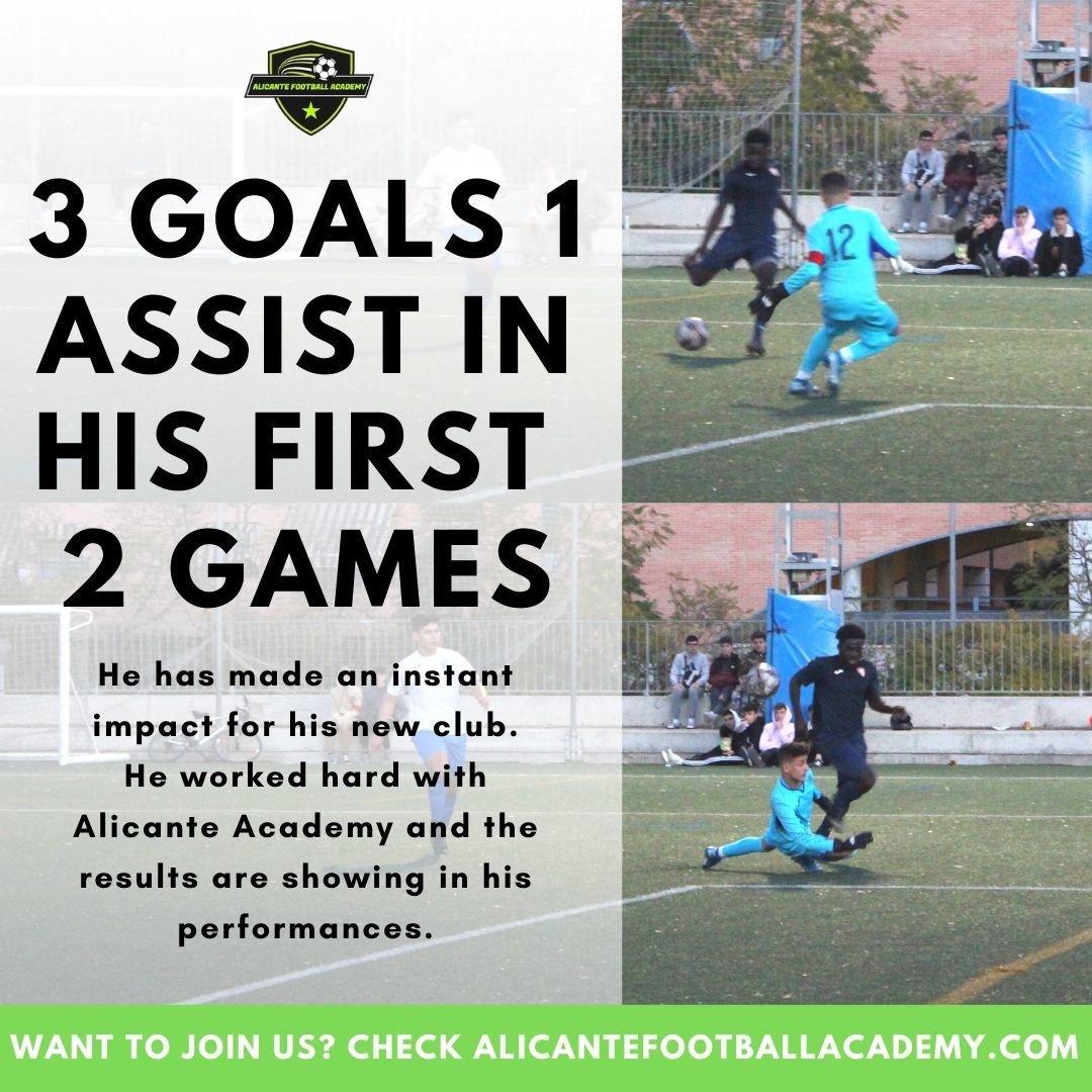 spanish academy player scoring a goal