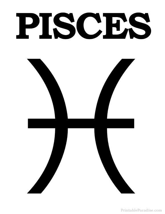 Printable Pisces Zodiac Sign - Print Pisces Symbol | Pisces zodiac ...