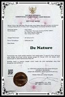 merk terdaftar denature,bpom denature,prestasi denature,denature hebat,sertifikat ISO 9001 de nature