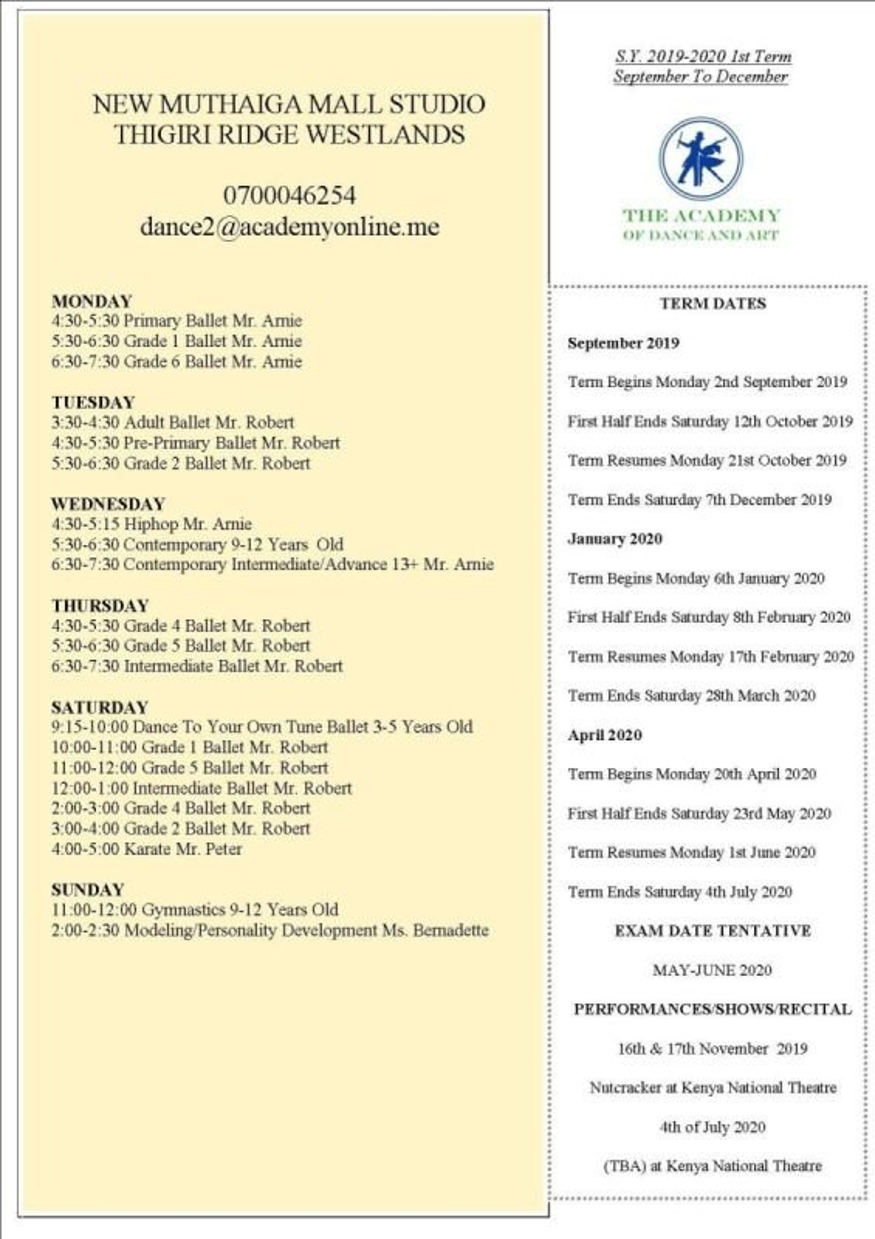 Timetable New Muthaiga Studio