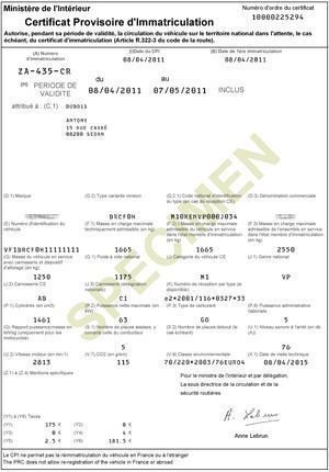 carte grise provisoire ww Certificat d'immatriculation provisoire WW   Carte grise en ligne