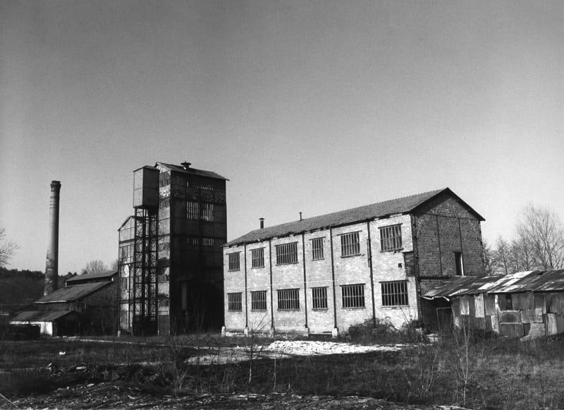 Vue générale de l'usine depuis la route. Au premier plan, le bâtiment de criblage et d'ensachage du charbon de bois. Au milieu, la tour du four flanquée de la tour de l'alambic, plus petite. A gauche, la salle des anciens fours et la chaudière. A l'extrême gauche (tache claire), le four d'évaporation.