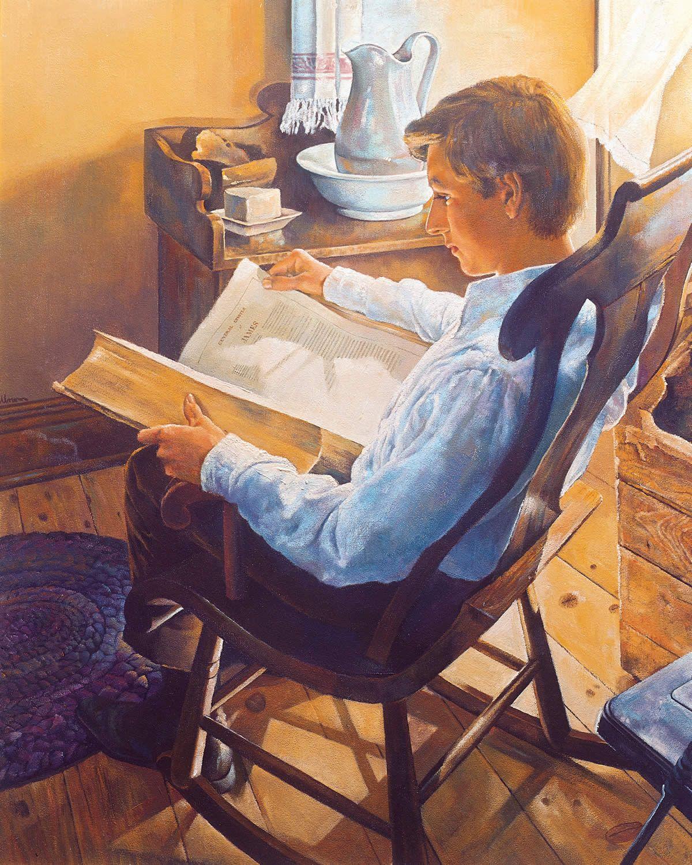 Joseph Smith reading the Holy Bible