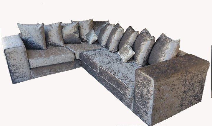 Crushed Velvet Large Corner Sofa