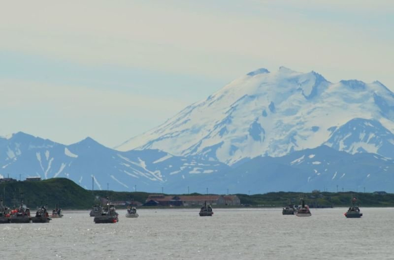 Mount Chiginagak is my favorite mountain in Alaska, It has a large presence here in the Ugsahik river district.