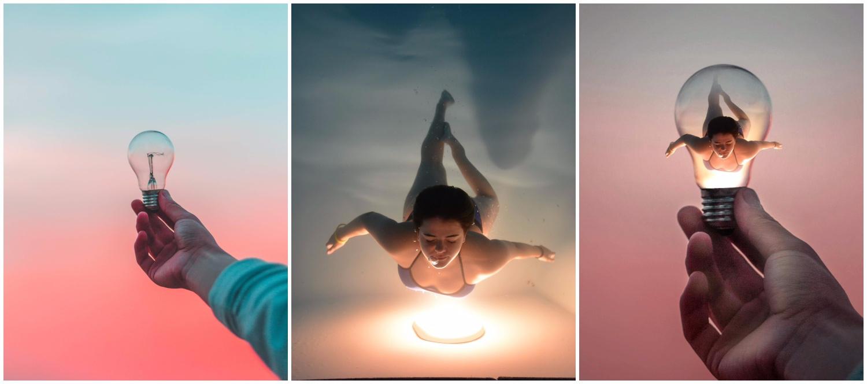 Digital art of a woman swimming in a light bulb.