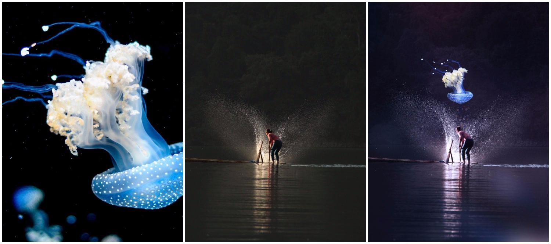 Digital art of a medusa swimming in the sky.