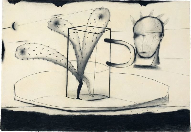 """EL CAFE"" . 2014 . 19"" x 27"" . Charcoal on Paper"