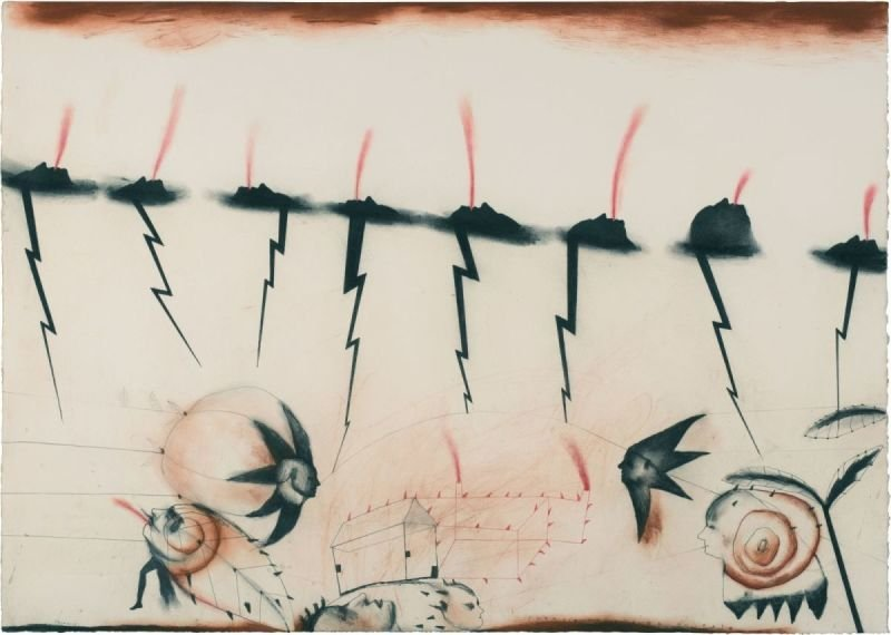 """ENERGIA TRADUCIDA EN ROJO"" . 2013 . 30"" x 42"" .  Oil, Charcoal, Graphite on Paper"