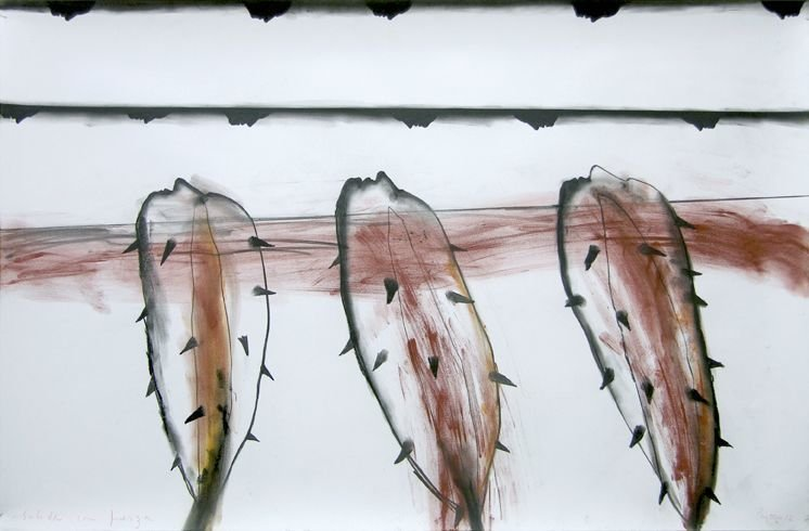 """SALIDA CON FUERZA"" . 2012 . 23"" x 35"" . Sanguine, Charcoal on paper"