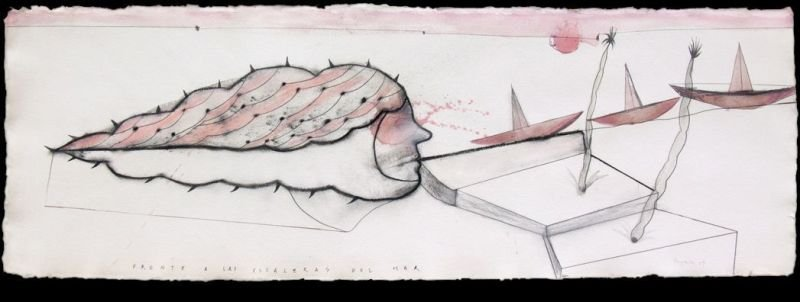 """FRENTE A LAS ESCALERAS DEL MAR"" . 2009 . 16"" x 47"" . Acrylic, Charcoal, Graphyte on Paper"