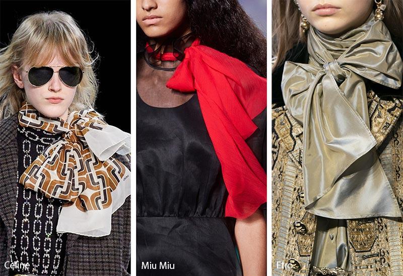 Tendances accessoires automne / hiver 2019-2020: Foulards en soie noués de rubans