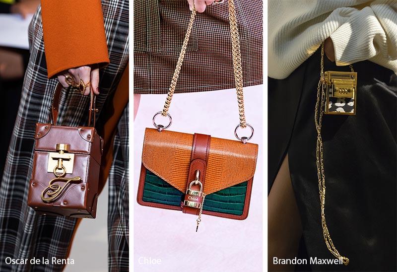 Tendances automne-hiver 2019-2020 pour les sacs à main: sacs / bourses décorés avec un cadenas