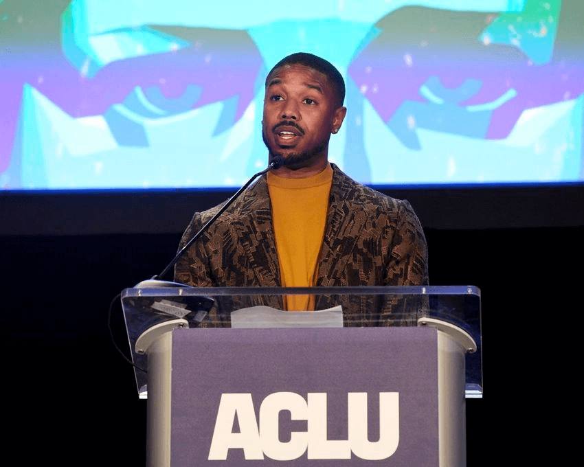 Actor Michael B. Jordan addresses the audience at the ACLU SoCal's 25th Annual Luncheon at the JW Marriott at LA Live, Friday, June 7, 2019, in Los Angeles. (Photo by Chris Pizzello/