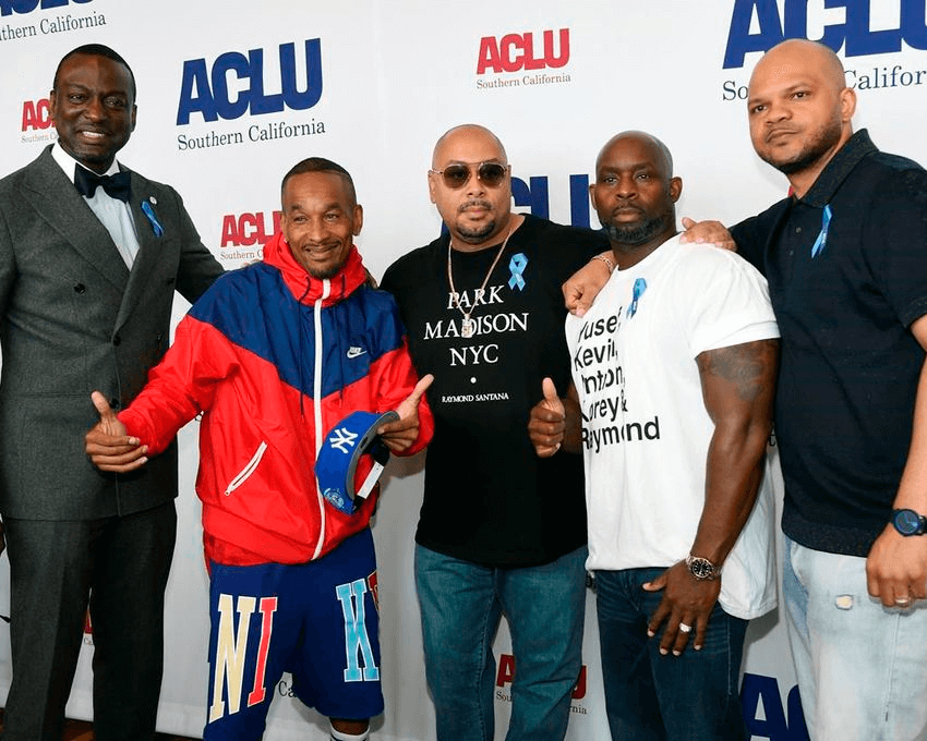 From left, honorees Yusef Salaam, Korey Wise, Raymond Santana, Antron McCray and Kevin Richardson pose together at the ACLU SoCal's 25th Annual Luncheon at the JW Marriott at LA Live, Friday, June 7, 2019, in Los Angeles. (Photo by Chris Pizzello/