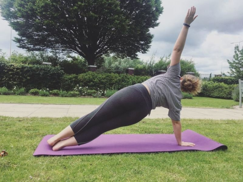 Yoga on the lawn with Laura