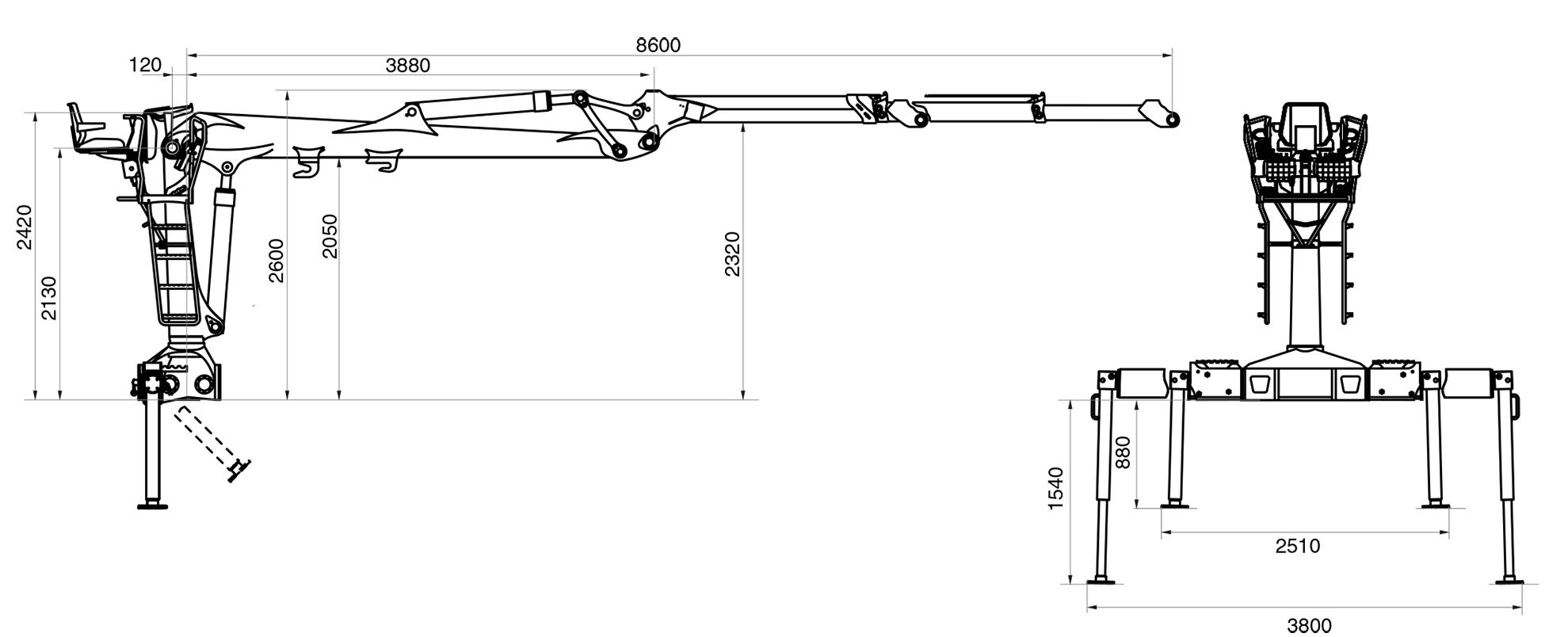 Габаритные размеры гидроманипулятора VM10L86