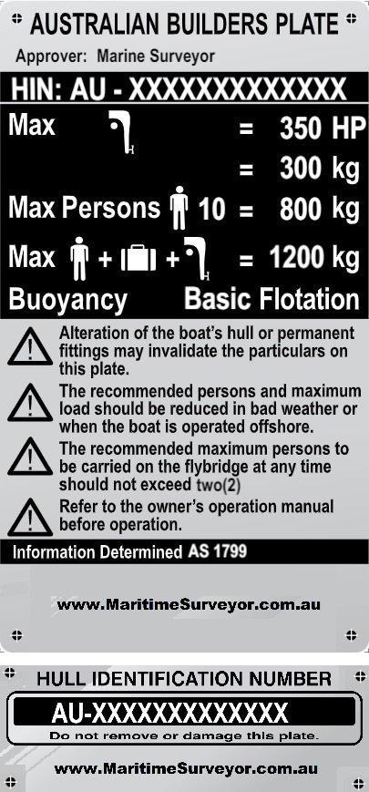 Australian Builders Plate (ABP)  &  Hull Identification Numbers (HIN) Plate