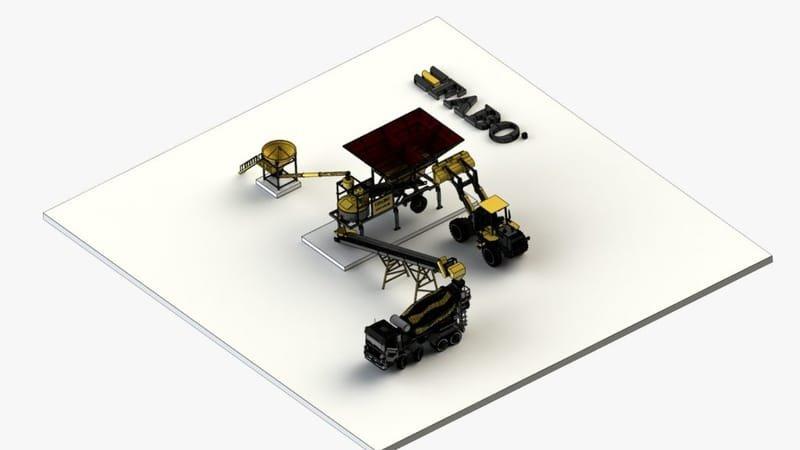 Centrale à béton mobile Mini mix -30 m3/h