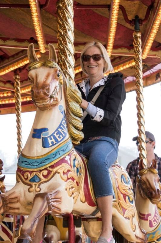 Family fun on the carousel at Steam Transport event Chatham Dockyard 2019