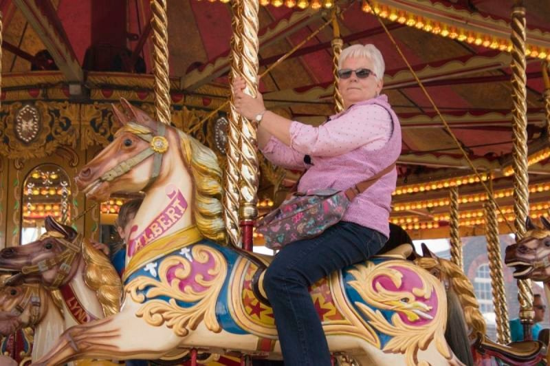 Family fun on the carousel at Steamk Transport event Chatham Dockyard 2019